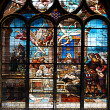 Stained-glass window in church — Stock fotografie