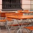 Cafe with tables and chairs in Berlin - Stock Photo