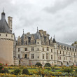 Chateau and Garden Chenonceau castle in France - Stock Photo