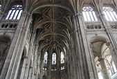 Inside in a Gothic cathedral of Paris — Stock Photo