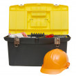 Box for tools a helmet isolated — Stock Photo