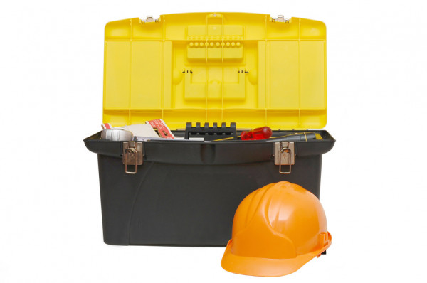 Box for tools a helmet isolated — Stockfoto