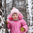 Winter portrait of the little girl in the pink — Stock Photo