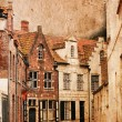Stock Photo: Very old small streets of Brugge - vintage style