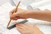 Tekening en diverse hulpmiddelen — Stockfoto