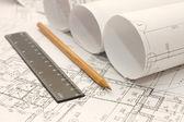 Planı üzerinde tasarım araçları — Stok fotoğraf