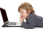 Baby girl in Diaper Typing on Computer — Stock Photo