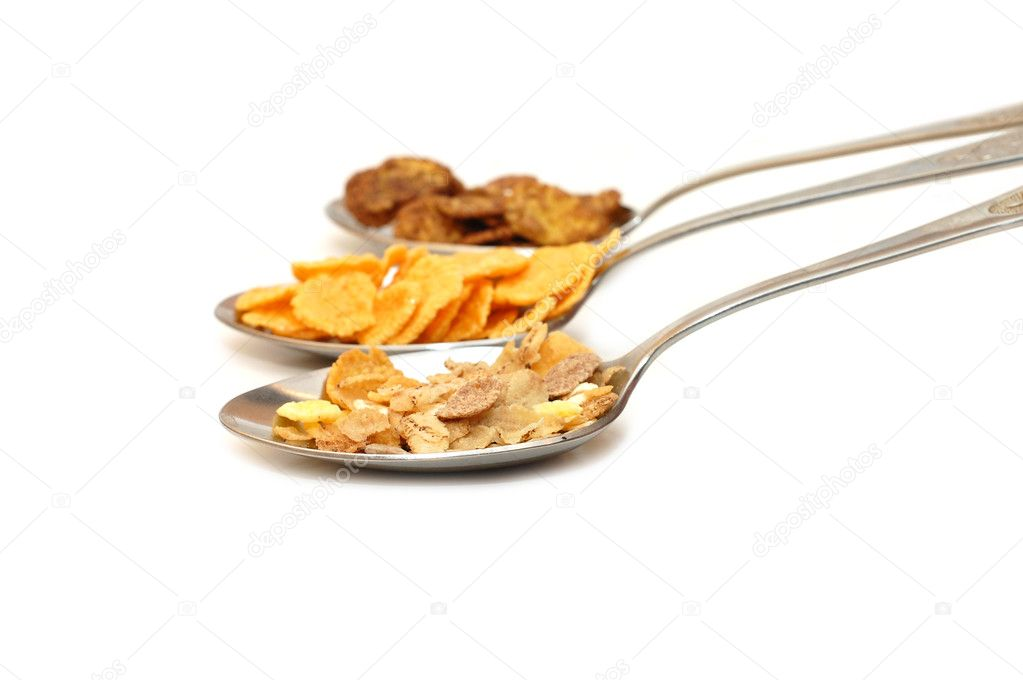 Set of dry breakfasts in spoons — Stock Photo #2612404