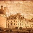 Chenonceau castle in France - vintage style - Stock Photo