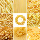 Different kinds of italian pasta. Food collage — Photo