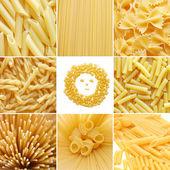 Différentes sortes de pâtes italiennes. collage de nourriture — Photo