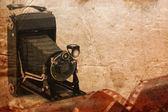 Medium format retro camera vintage background — Stock Photo