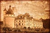 雪浓梭在法国-复古风格的城堡 — 图库照片