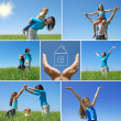 Happy family outdoor in summer - collage - 图库照片