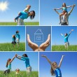 Happy family outdoor in summer - collage — Стоковая фотография