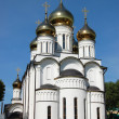 Russian orthodox church with gold domes - Stock Photo