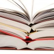 Royalty-Free Stock Photo: Front view of a stack of open books