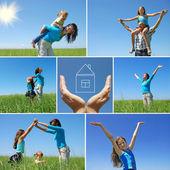 счастливая семья, открытый в летнее время - коллаж — Стоковое фото
