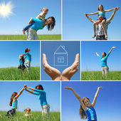 Happy family outdoor in summer - collage — Stock Photo