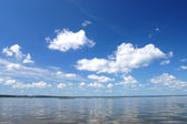 Cloud over water, lake Plesheevo, Russia — Stock Photo