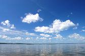 Cloud over water, lake Plesheevo, Russia — Stock Photo