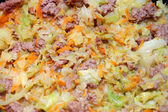 Stewed cabbage with meat and car — Stock Photo