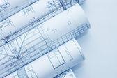 Rolls of Engineering Drawings — Stock Photo