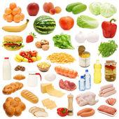 Colección de alimentos aislado en blanco — Foto de Stock