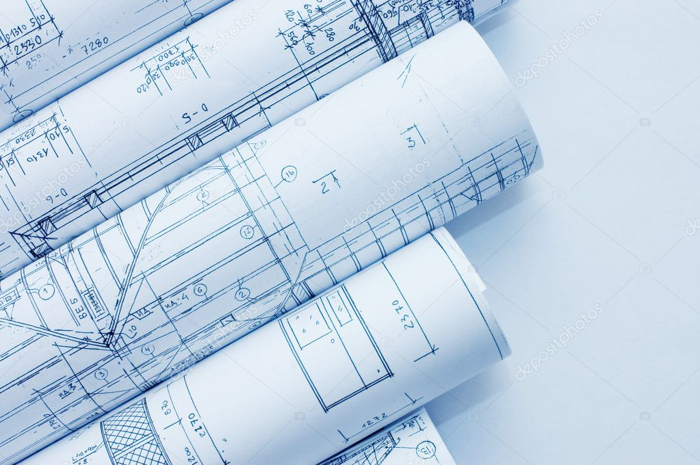 Rolls of Engineering Drawings  Stock Photo #2672858