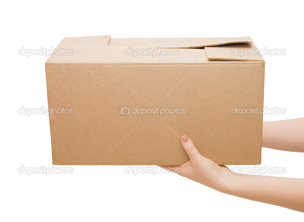 Hands with box isolated on white background — Photo #2691774