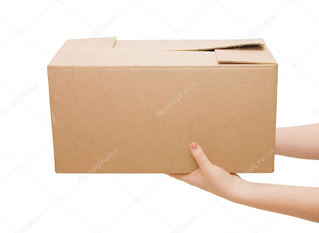 Hands with box isolated on white background — Stok fotoğraf #2691774