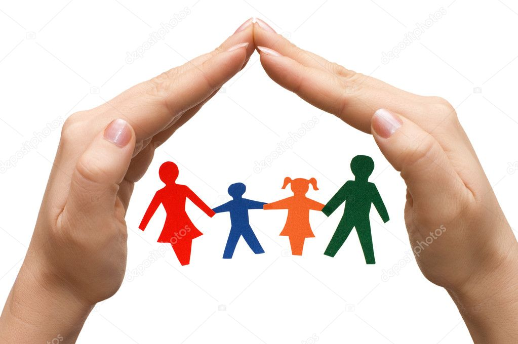 Family in house made of hands isolated — Stock Photo #2692011