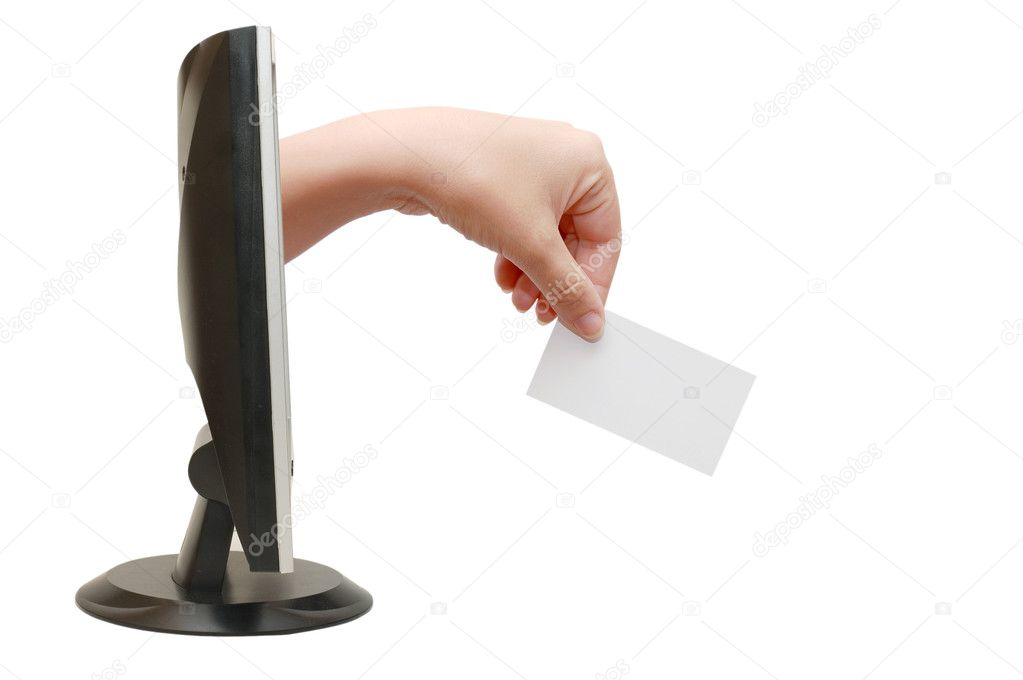 Computer screen and hand with card — Foto Stock #2692094