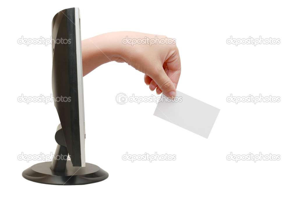 Computer screen and hand with card  Stock Photo #2692094