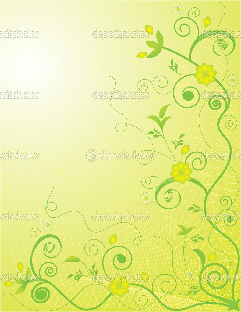Ornate background featuring yellow flowers and green vines — Stock Vector #1301780