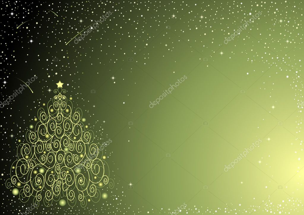 Starry background with ornate Christmas tree — Stock Vector #1302358
