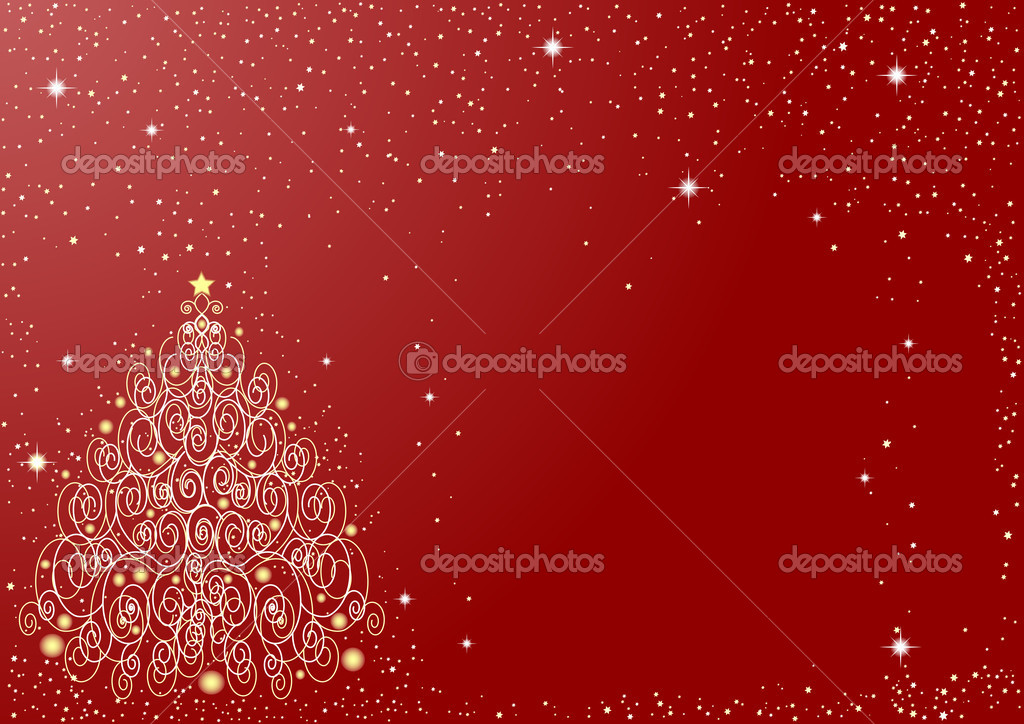 Red starry background with ornate Christmas tree — Stock Vector #1302365