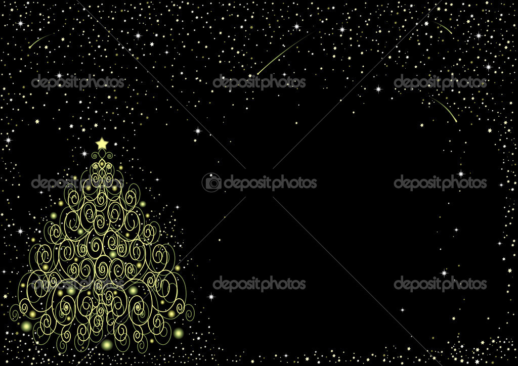 Starry background with ornate Christmas tree — Stock Vector #1302374
