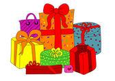 Coffrets cadeaux colorés — Vecteur