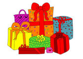 Colorful gift boxes — Stockvector