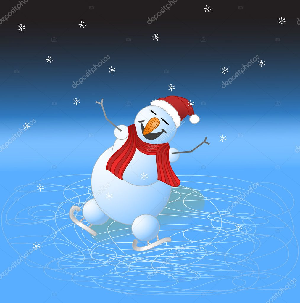 Happy snowman skating and smiling under the snowfall — Stock Vector #1342436