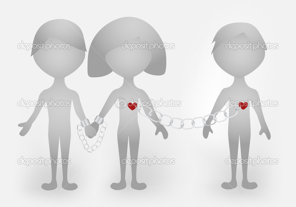 A symbolic scene illustrating love triangle relationship — Stock Vector #1431102
