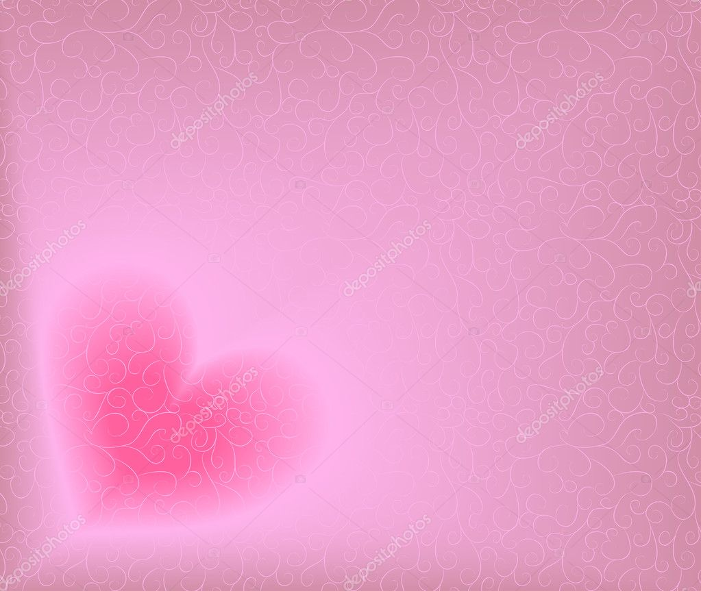 Ornate background with heart. Blend, no gradient mesh.  Stok Vektr #1482097