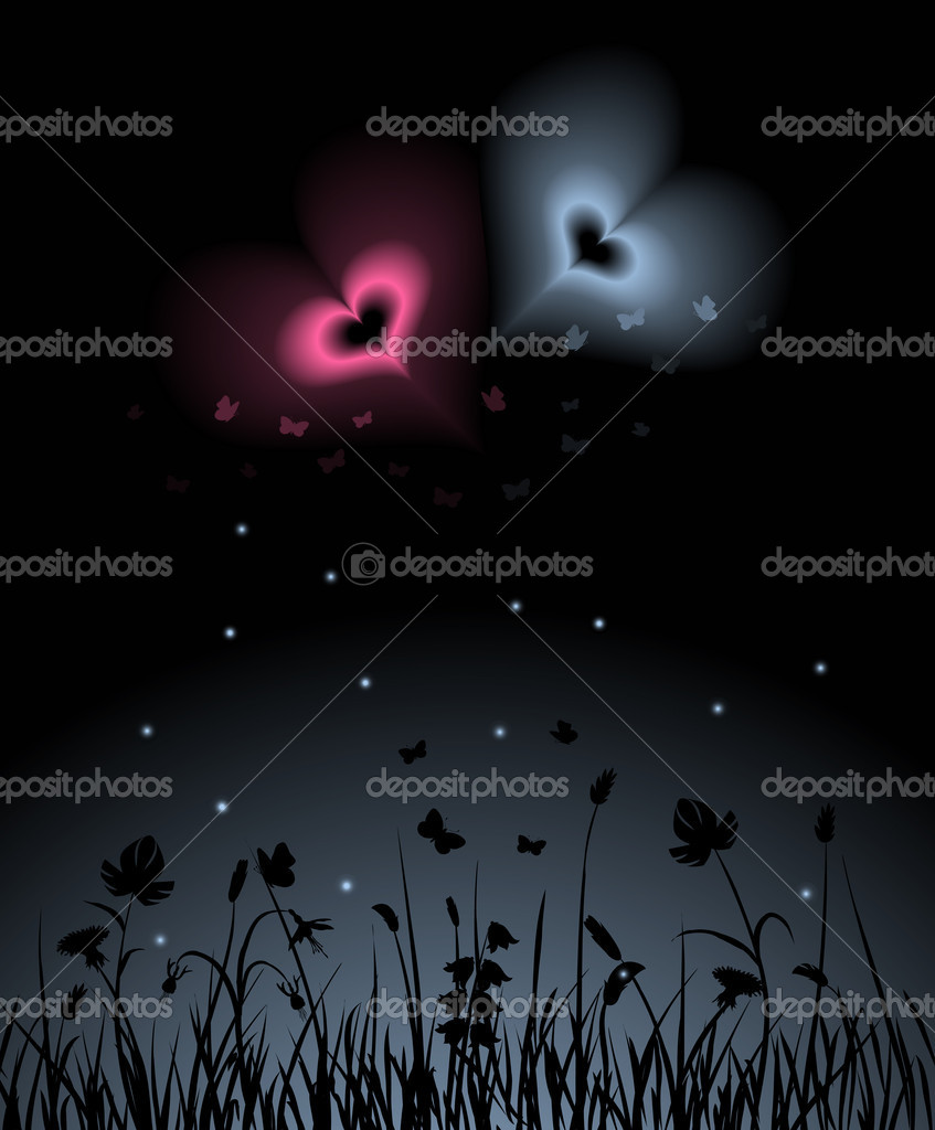 Night scene with two magic hearts shining over the garden. Blends and gradients used, no gradient mesh. — Stock Vector #1486956