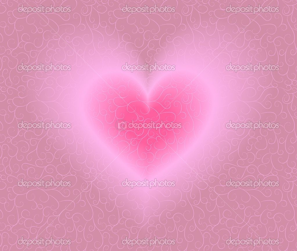 Ornate background with heart. Blend, no gradient mesh. — Stock Vector #1496170