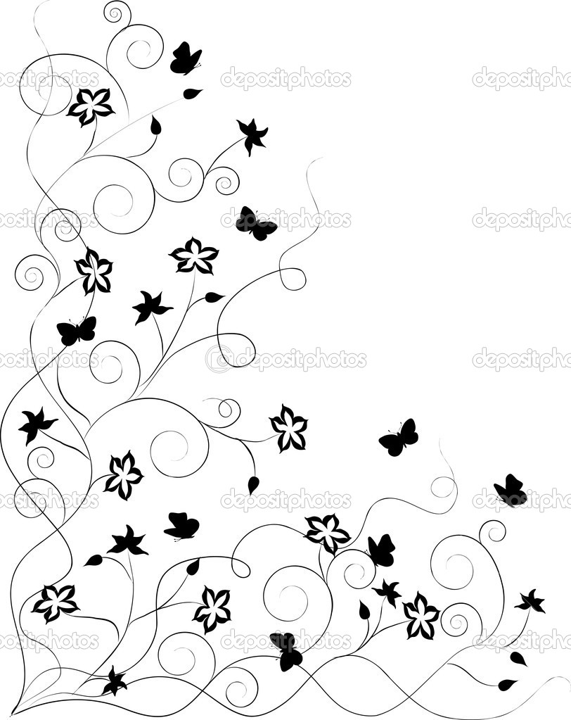 Ornate floral background with swirls, flowers, butterflies  Stock Vector #1569171