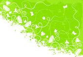 Fondo verde adornado — Vector de stock