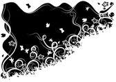 Kwiecisty czarno-białe tło — Wektor stockowy