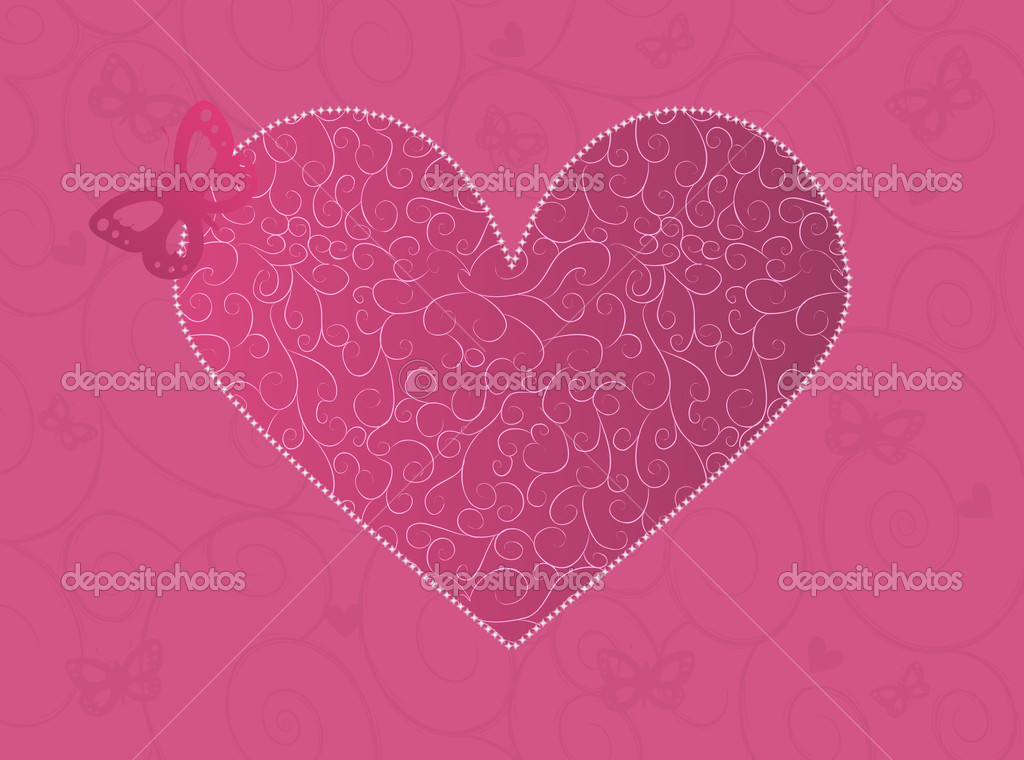 Pink Valentine's day card with ornate heart and butterfly — ベクター素材ストック #1576048