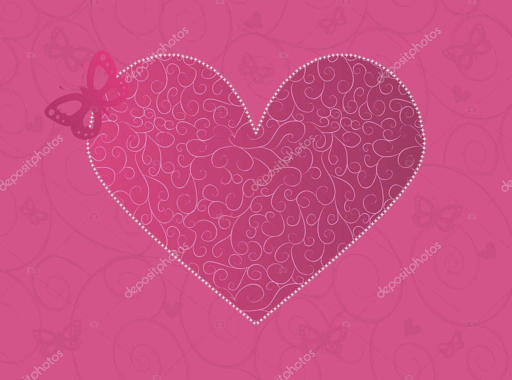 Pink Valentine's day card with ornate heart and butterfly — Векторная иллюстрация #1576048